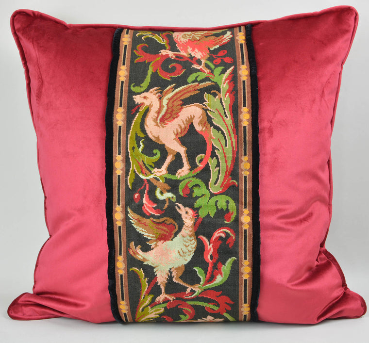 Tapestry Pillow Griffin Phoenix Red 22