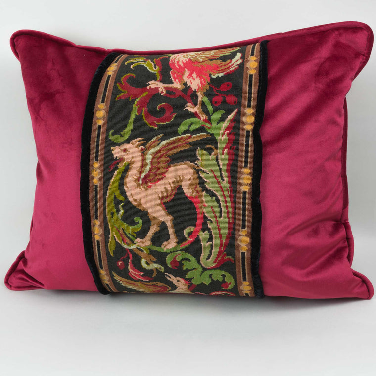 Tapestry Pillow Griffin Phoenix Red 16X20