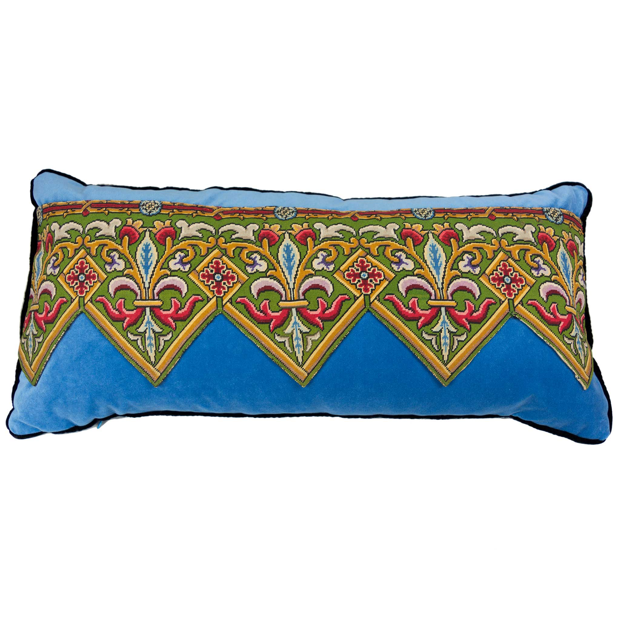 Tapestry Pillow European Finds 30x15 Blue Velvet