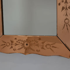 Venetian Art Deco Early 20th Century Cut Glass Mirror Bottom
