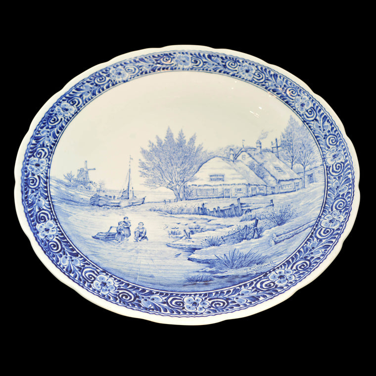 Dutch Hand Painted Boch Delft Platter Country Waterway Scene Blue/White