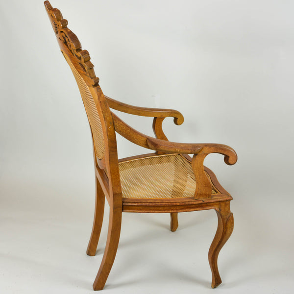 Vintage Carved Accent Chair with Caned Seat and Back