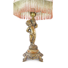 Boudoir Lamp Gold Cherub with Rosette and Fringe Shade European Finds Side 2