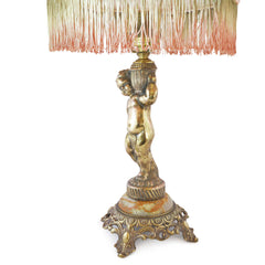 Boudoir Lamp Gold Cherub with Rosette and Fringe Shade European Finds Side