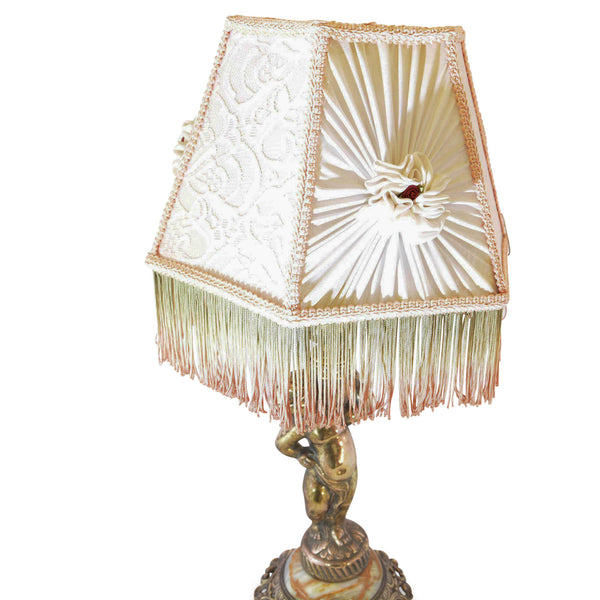 Boudoir Lamp Gold Cherub with Rosette and Fringe Shade European Finds Rosette Detail