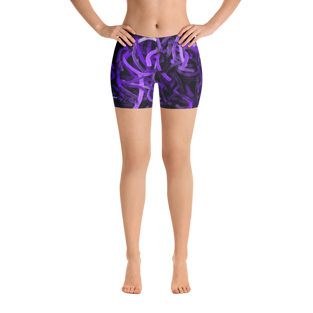 Positively Poppin' Fashion - Spandex Shorts - PURPLE MARTIN