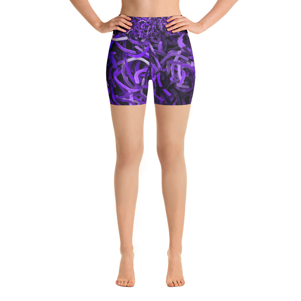 Positively Poppin' Fashion - Yoga Shorts - PURPLE MARTIN