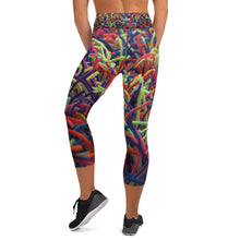 Positively Poppin' Fashion - Yoga Capri Leggings - NEON GRASSES