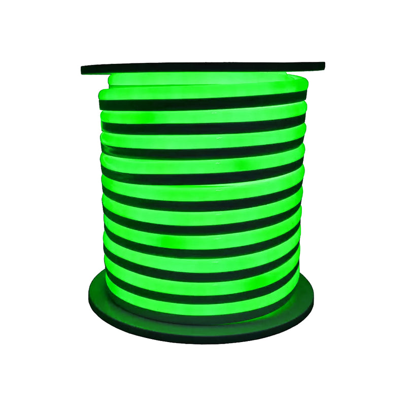 LED Neon Rope Light | Type S | 9.6 Watt per Meter | 50 Feet | Green Color | UL Listed | IP66 | Flexible Neon Rope Light