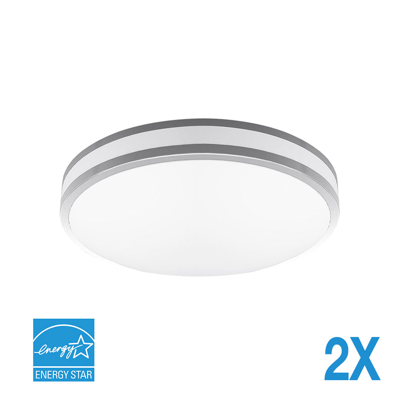 "Euri Lighting EIN-CL42SL-2030e-2, 14"" Indoor Round LED Ceiling Light, Silver Bezel & Frosted Plastic Lens, 16 Watts and 3000K Soft White (Pack of 2)"