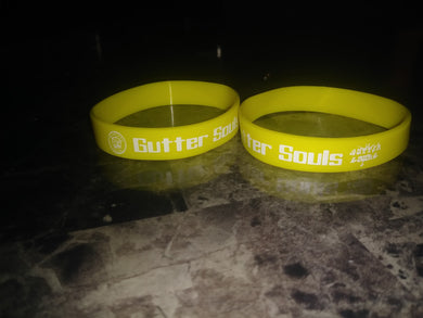 Gutter Souls Yellow wristband and white letters