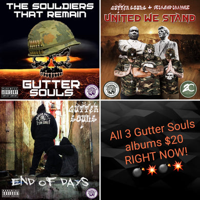 Gutter Souls three albums package The Souldiers That Remain, End of Days & United We Stand Albums autographed