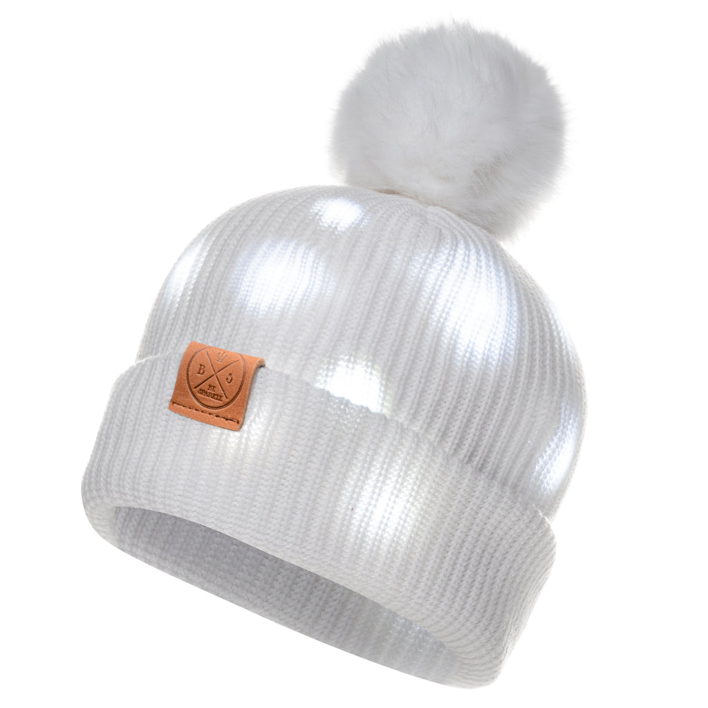 LED POM BEANIE (WHITE) - Buy Be Sparkle , Fight Cancer