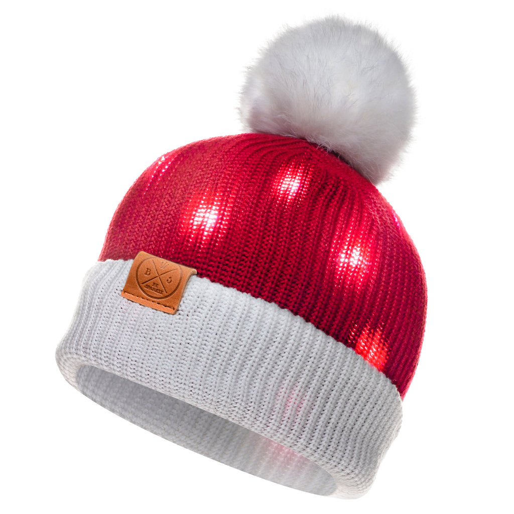 LED POM BEANIE (RED) - Buy Be Sparkle , Fight Cancer