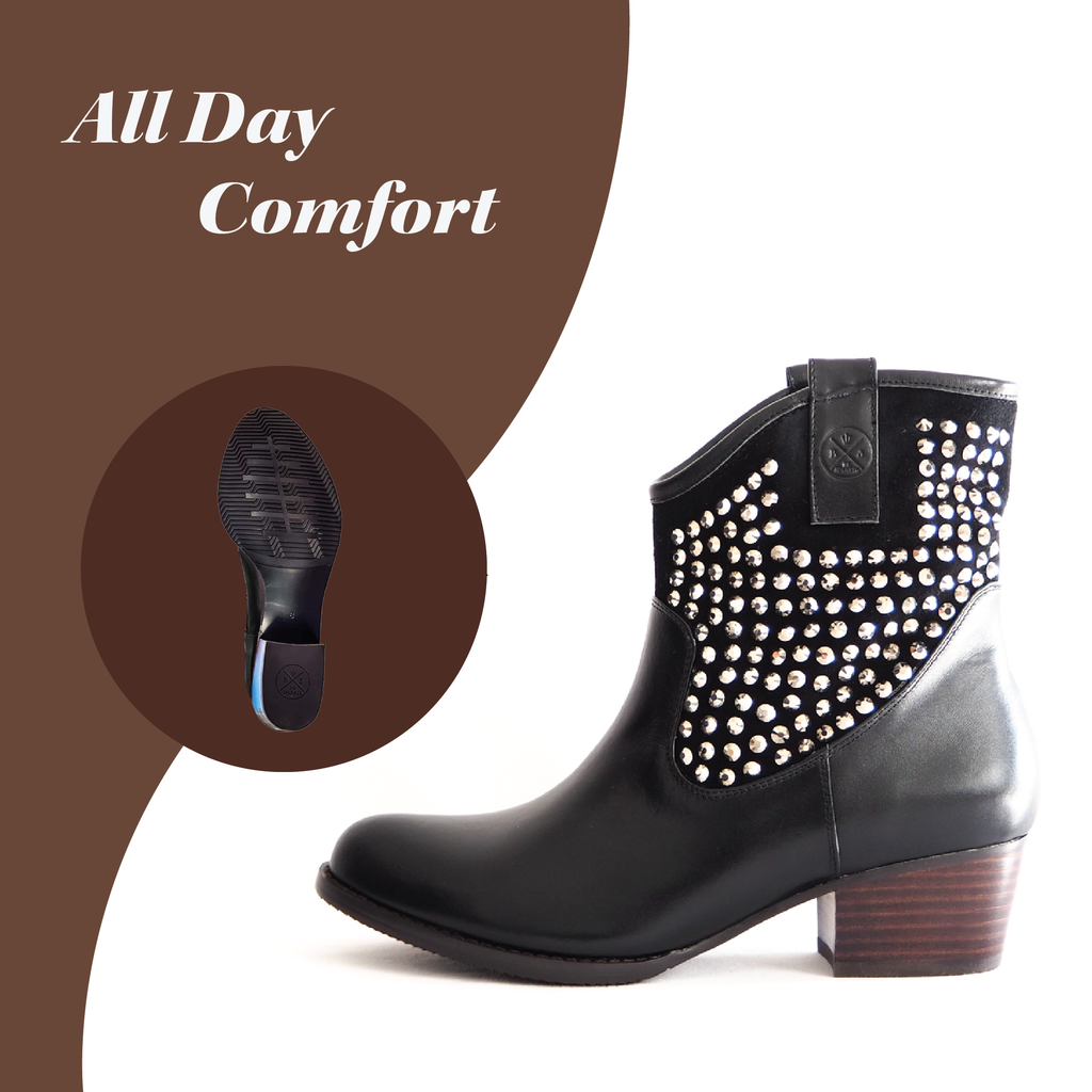 ANKLE BOOTS (BLACK) - Buy Be Sparkle , Fight Cancer