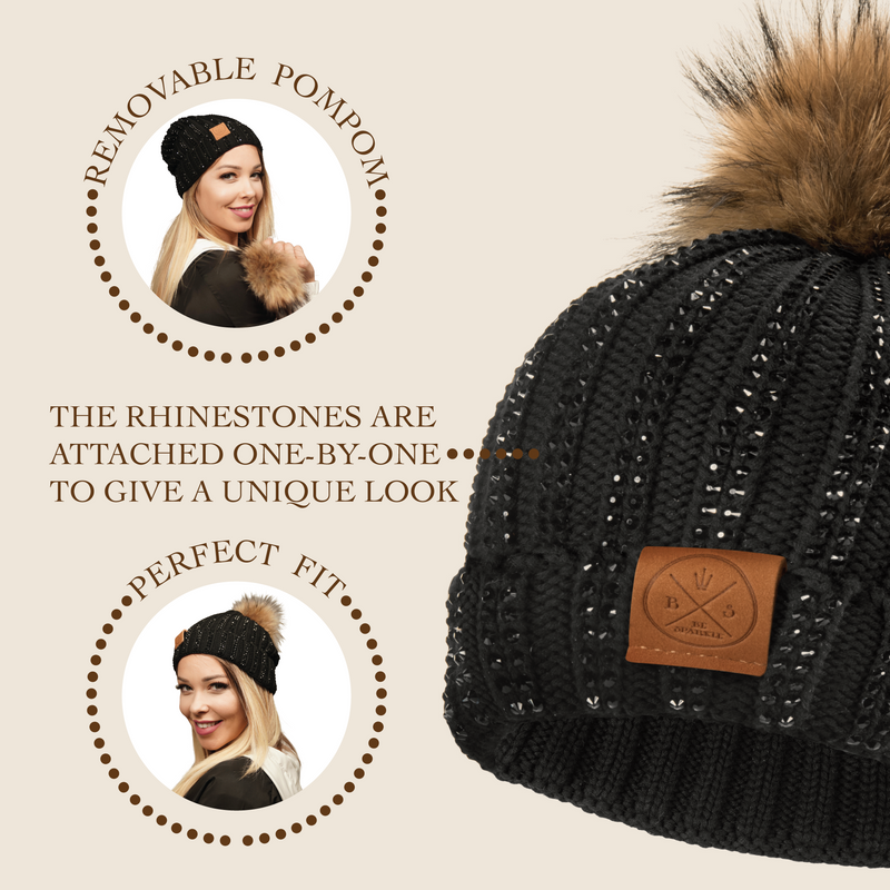 ADULT POM RHINESTONES BEANIE (BLACK) - Buy Be Sparkle , Fight Cancer