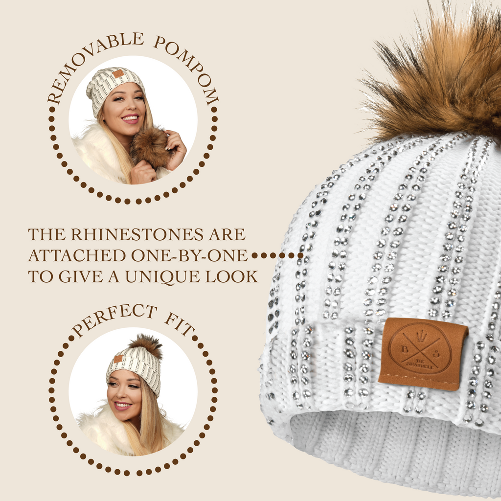 ADULT POM RHINESTONES BEANIE (WHITE) - Buy Be Sparkle , Fight Cancer