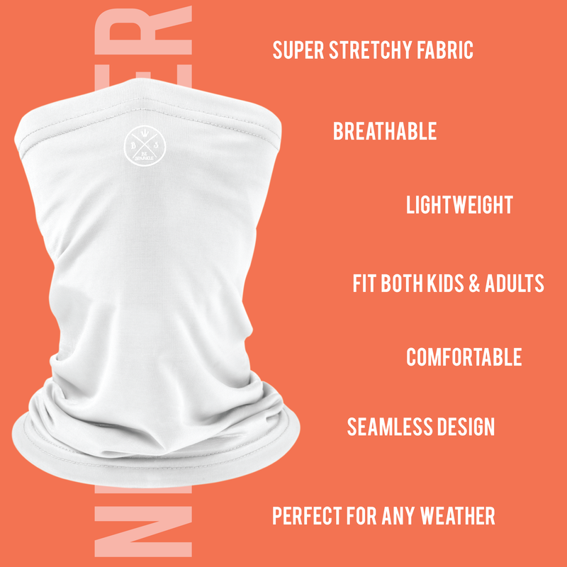 ADULT NECK GAITER FACE MASK (WHITE) - Be Sparkle Fashion