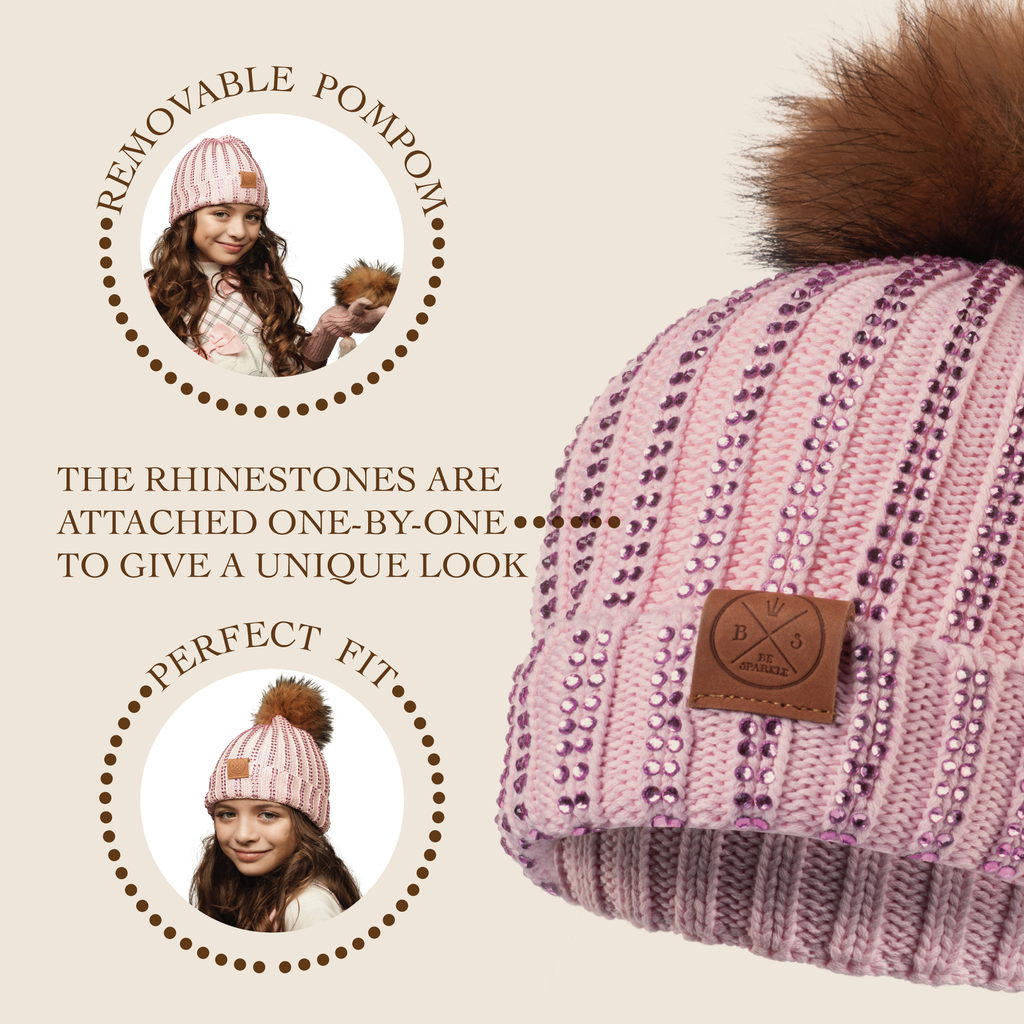CHILD POM RHINESTONES BEANIE (PINK) - Buy Be Sparkle , Fight Cancer
