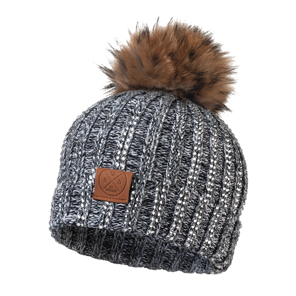 ADULT POM RHINESTONES BEANIE (GRAY) - Buy Be Sparkle , Fight Cancer
