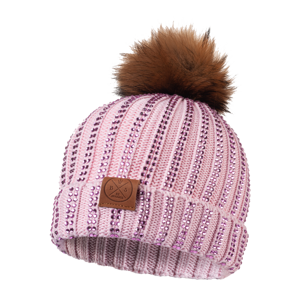 ADULT POM RHINESTONES BEANIE (PINK) - Buy Be Sparkle , Fight Cancer