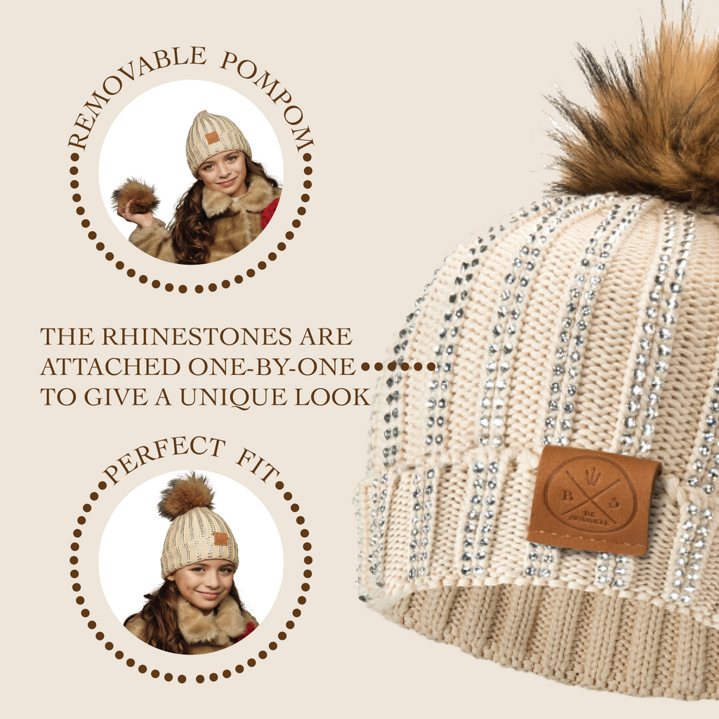CHILD POM RHINESTONES BEANIE (BEIGE) - Buy Be Sparkle , Fight Cancer