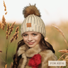 CHILD POM RHINESTONES BEANIE (BEIGE) - Be Sparkle Fashion