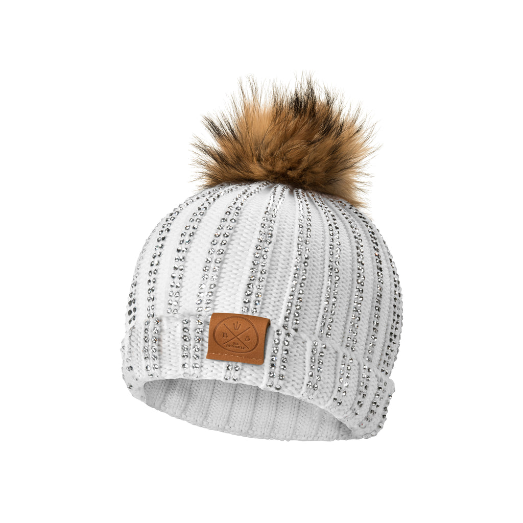 CHILD POM RHINESTONES BEANIE (WHITE) - Buy Be Sparkle , Fight Cancer