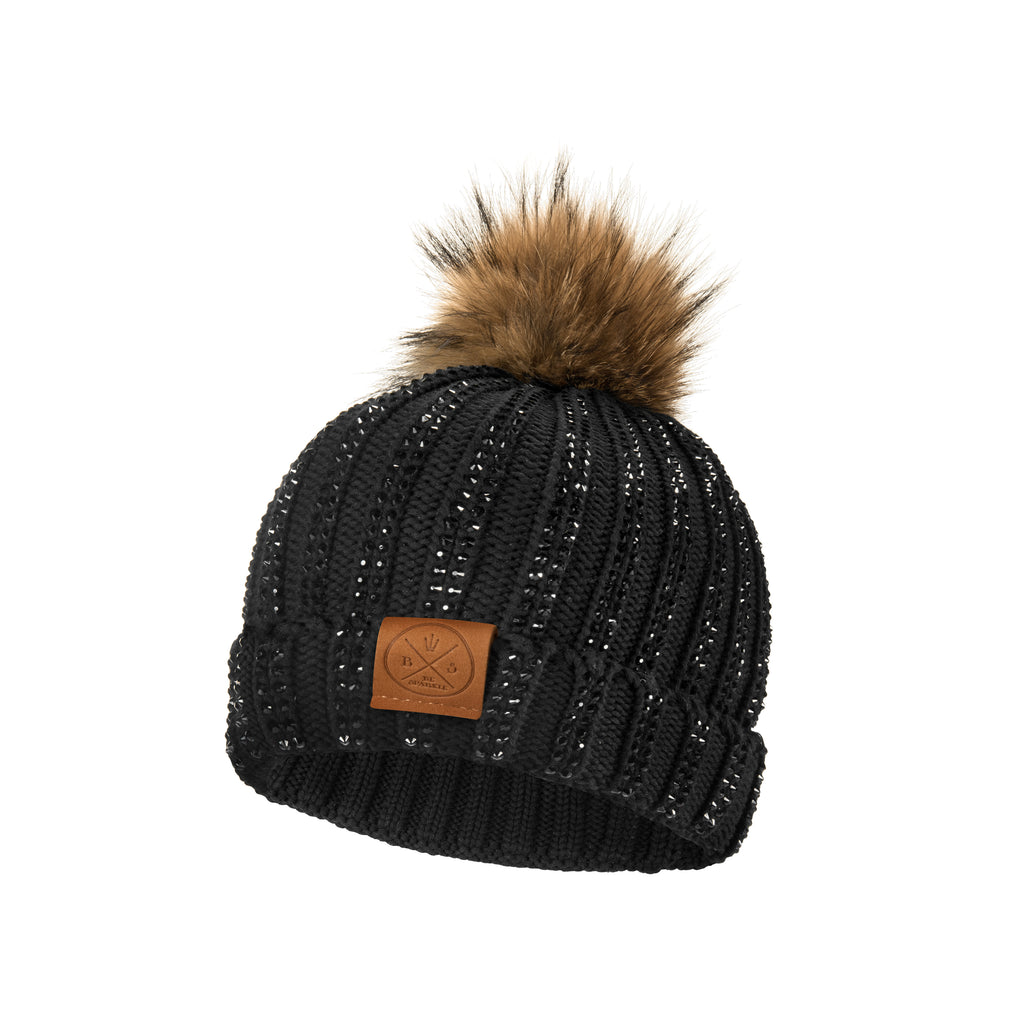 CHILD POM RHINESTONES BEANIE (BLACK) - Buy Be Sparkle , Fight Cancer