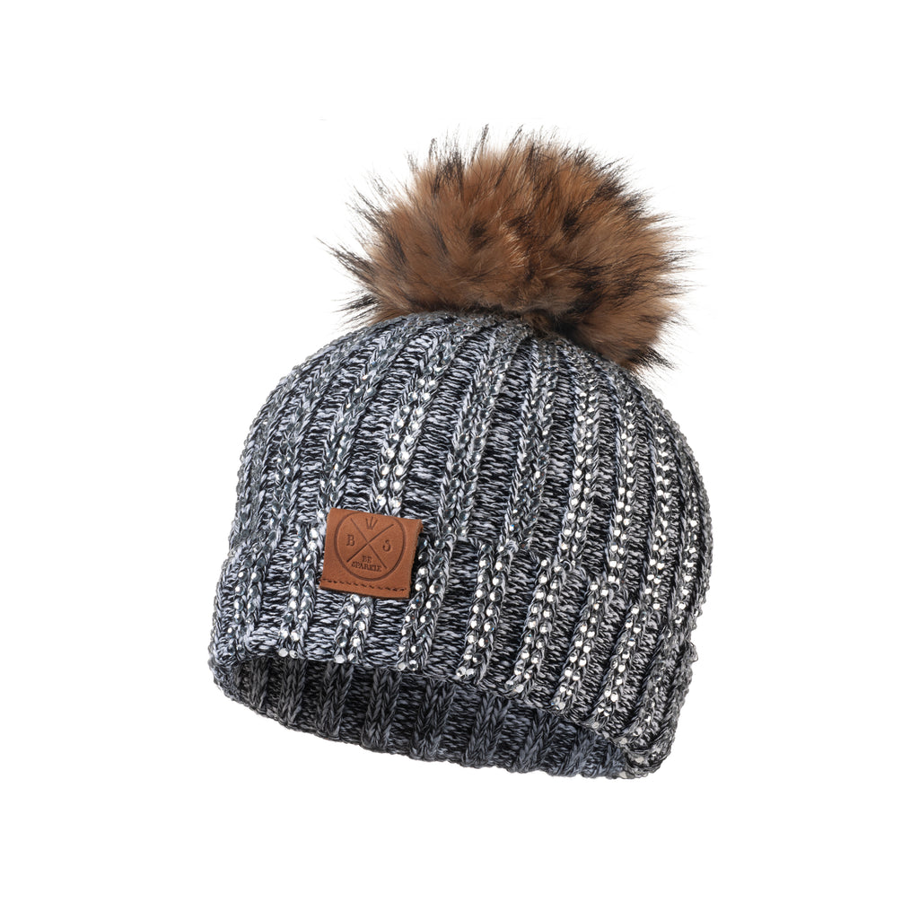 CHILD POM RHINESTONES BEANIE (GRAY) - Buy Be Sparkle , Fight Cancer