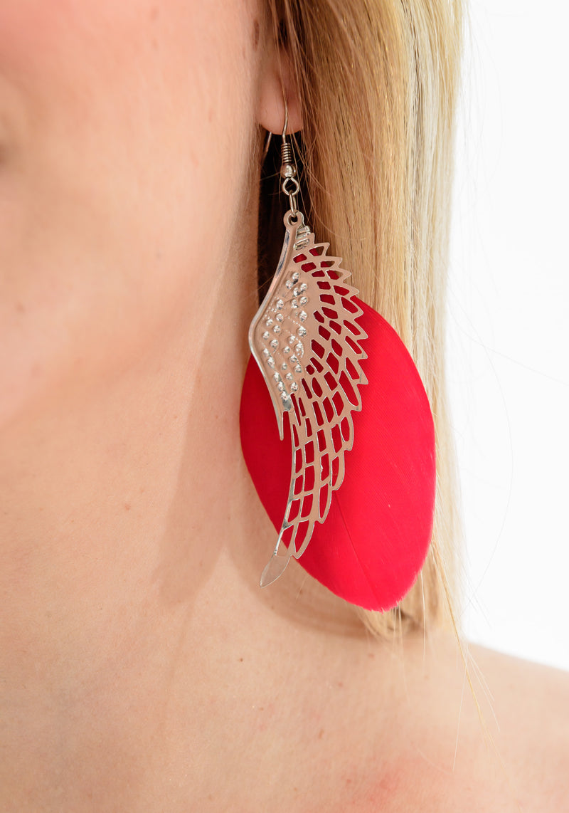 ANGEL EARRINGS (RED) - Be Sparkle Fashion