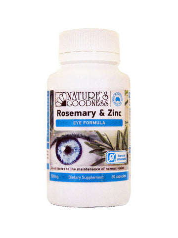 ROSEMARY & ZINC EYE FORMULA 500mg 60 Capsules - MARCH 2021 EXPIRY
