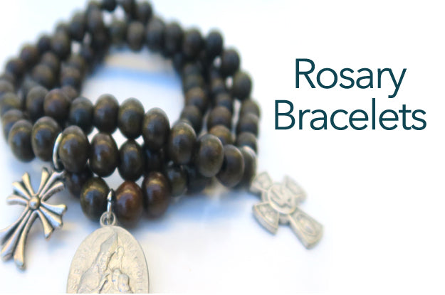 classic wood bead bracelets embellished with crosses and inspirational charms