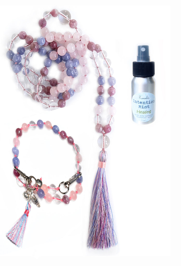 Emotional Healing Collection - TRUE WHOLE Mala, Pratinu Emotional Healing Mala Bracelet and Healing Intention Mist - Pranachic