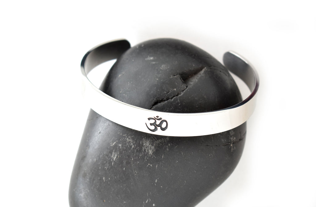 OM - Stainless Steel Cuff Bracelet for Women and Men - Pranachic