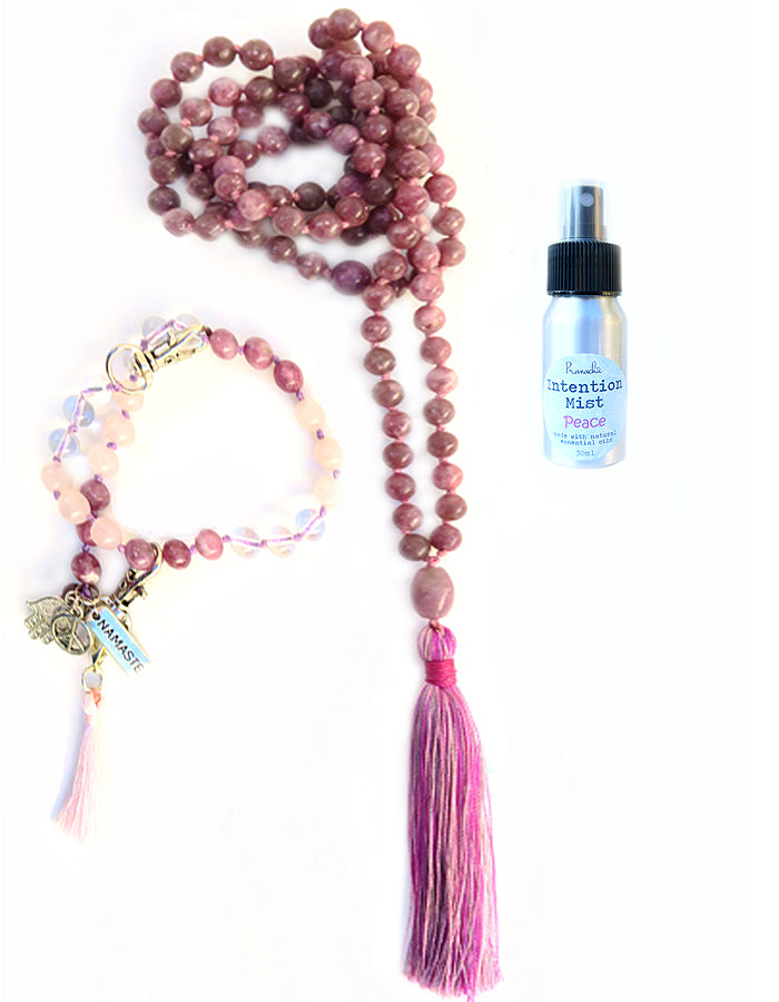 Peace Collection - TRUE SERENITY Mala, Pratinu Peace Mala Bracelet and Peace Intention Mist - Pranachic