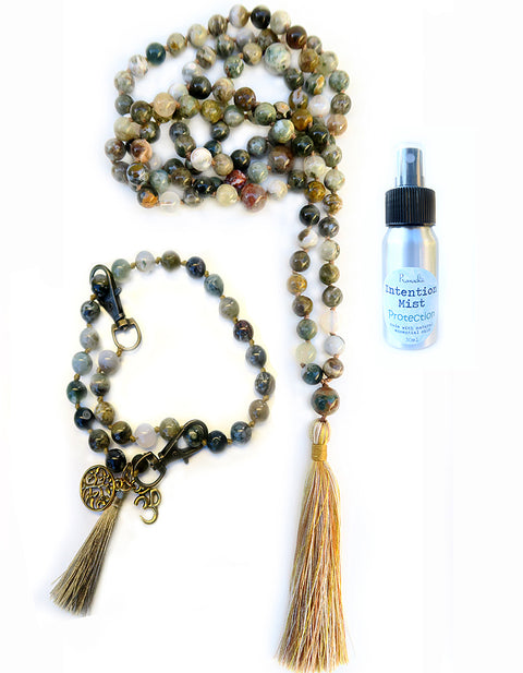 Protection Collection - TRUE ARMOR Mala, Pratinu Sacred Protection Mala Bracelet and Protection Intention Mist - Pranachic