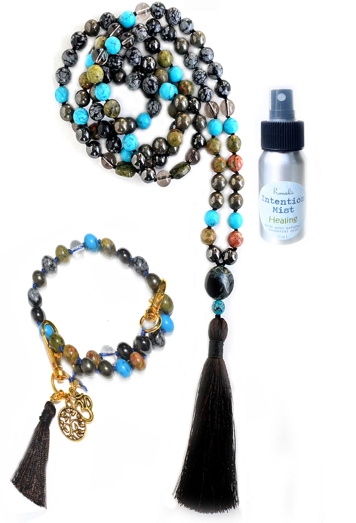 Physical Healing Collection - TRUE BEING Mala, Pratinu Physical Healing Mala Bracelet and Healing Intention Mist - Pranachic