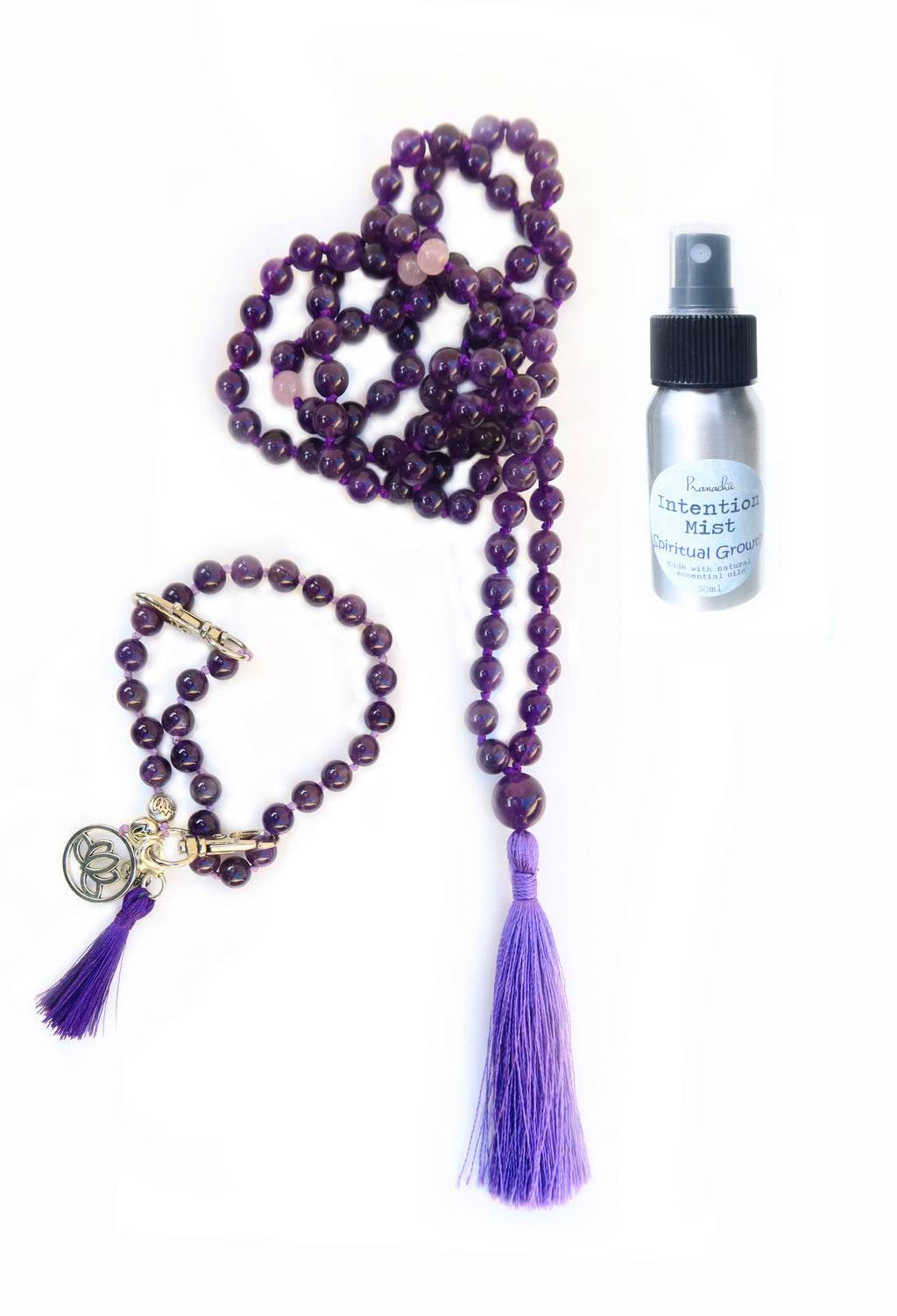 Spiritual Growth Collection - TRUE LIGHT Mala, Pratinu Spiritual Growth Mala Bracelet and Spiritual Growth Intention Mist - Pranachic