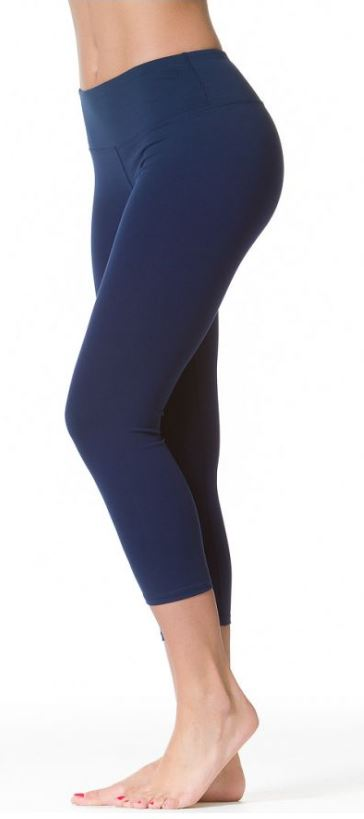 Flat Waist Supplex Navy Capri Leggings - Pranachic