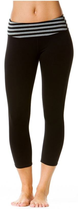 Striped Waist Supplex Capri Leggings - Pranachic