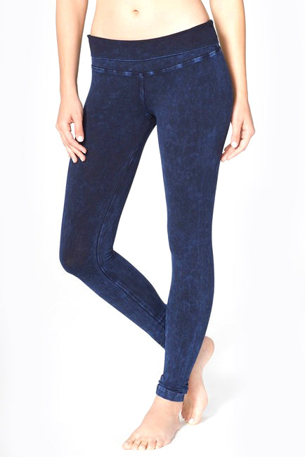 Rolldown Denim Mineral Wash Ankle Leggings - Pranachic