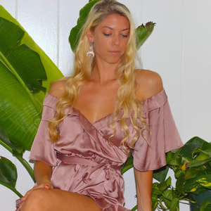 OFF THE SHOULDER RUFFLE ROMPER - MAUVE