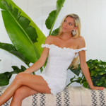 Load image into Gallery viewer, WHITE OFF THE SHOULDER RUFFLE DRESS