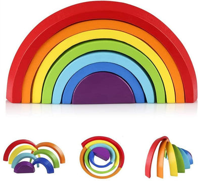 Wooden Rainbow Stacker Nesting Puzzle Blocks