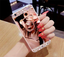 Load image into Gallery viewer, Rhinestone Cute Bear Ring Stand Phone Case