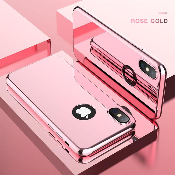 Luxury Ultra Slim Plating Mirror Case For iPhone X 8 7 6 5 + Free Screen Protector Film