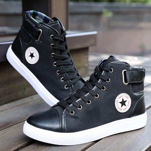 High Top Front Lace-Up  Canvas Ankle MEN Boots