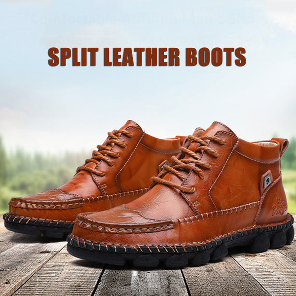 2019 Autumn Cow Split Leather Men Motorcycle Boots(BUY 2PCS TO GET 10% OFF)