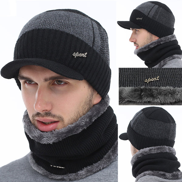 Winter Men Wool Scarf Skullies Beanies Hat(BUY 2PCS TO GET 10% OFF)